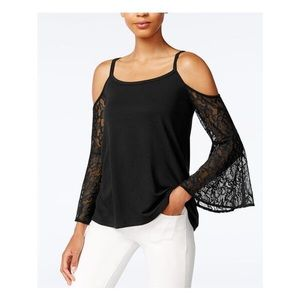 Kensie Cold Shoulder Lace Bell Sleeve Blouse NWT